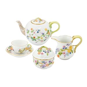 Kabartma Çiçekli Çay Seti