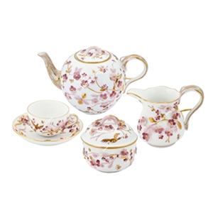 Kabartma Pembe Çiçekli Çay Seti