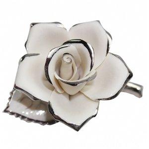 Dekoratif Porselen Platin Bordürlü Gül