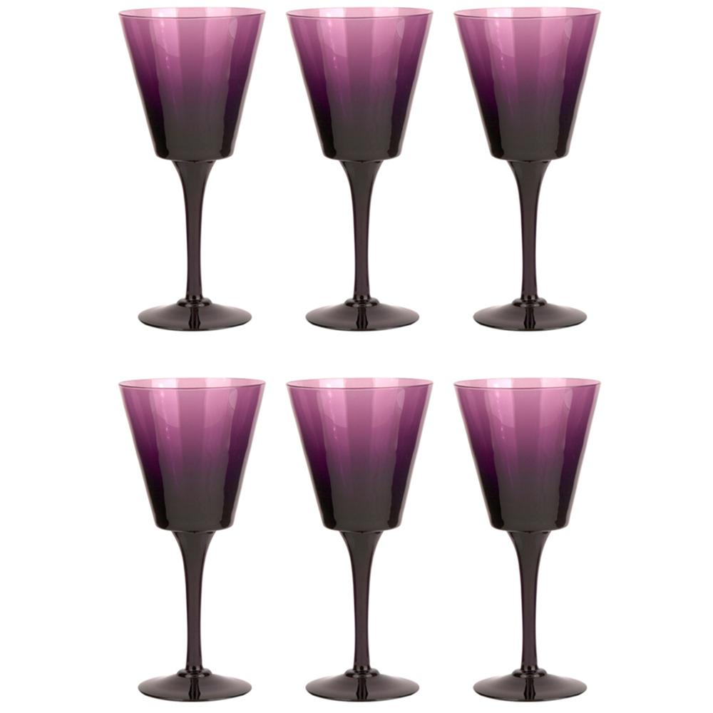 6 lı Mürdüm Kristal Kırmızı Şarap Bardağı