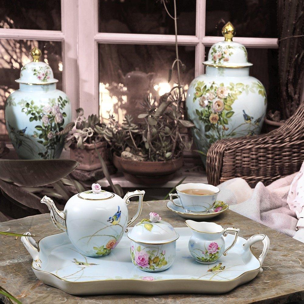 Mavi Renk Kuş Desenli Çay Seti